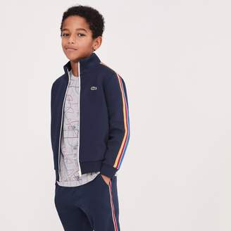 Lacoste Boys' Stand-Up Collar Colored Bands Zippered Fleece Sweatshirt