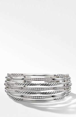 David Yurman Wide Woven Cuff Bracelet with Diamonds