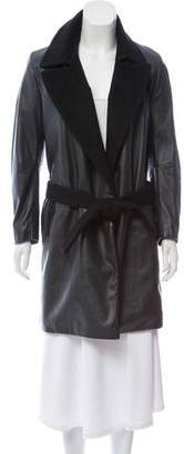 CNC Costume National Notch-Lapel Leather Coat