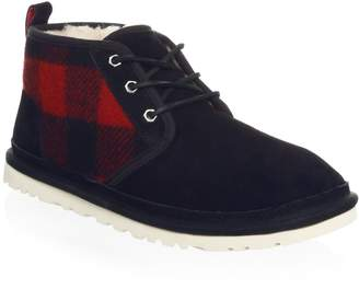 UGG Neumel Plaid Faux Shearling-Lined Ankle Boots