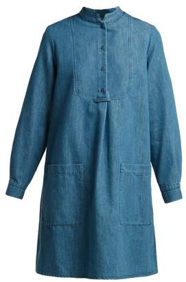 A.P.C. Bib Front Denim Dress - Womens - Light Blue