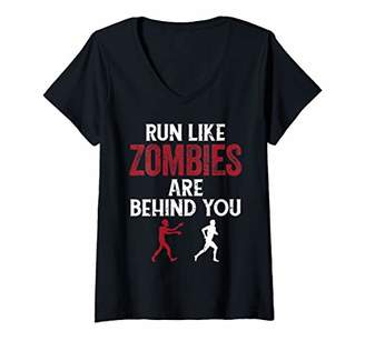 Womens Funny Zombies Running Horror Scary Quote Summer Halloween V-Neck T-Shirt