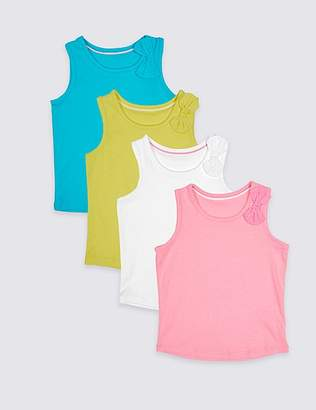 Marks and Spencer 4 Pack Bow Detail Vest Tops (3 Months – 7 Years)