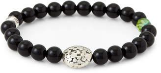Dell'arte By Jean Claude Black Obsidian & Bohemian Crystal Beaded Bracelet