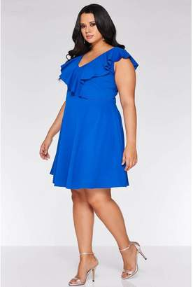 Quiz Curve Royal Blue V Neck Skater Dress