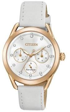 Citizen Drive from Eco-Drive Crystal Quartz Leather Strap Watch