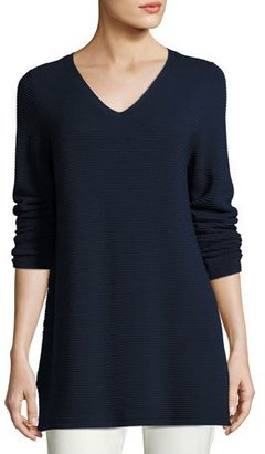 Eileen Fisher Long-Sleeve Textured V-Neck Tunic, Midnight, Petite $298 thestylecure.com