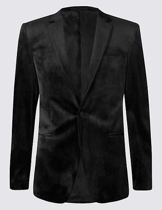 M&S Collection Velvet Black Tailored Fit Jacket