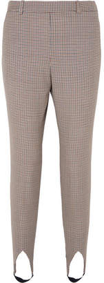 Givenchy High-rise Checked Wool Tapered Stirrup Pants - Brown