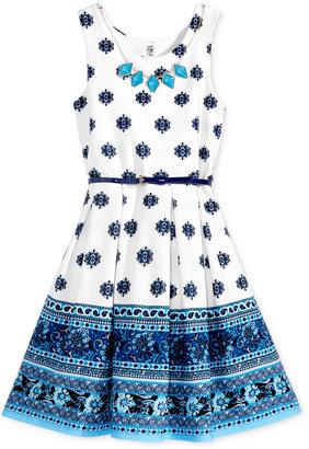 Beautees Contrast-Print Skater Dress, Big Girls (7-16) $56 thestylecure.com