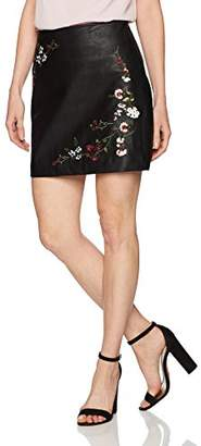 Freshman 1996 Women's Pu Floral Embroidery Skirt