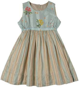 Flowers & Stripes Silk Dress