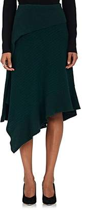 Paco Rabanne Women's Asymmetric Rib-Knit Wool-Blend Skirt