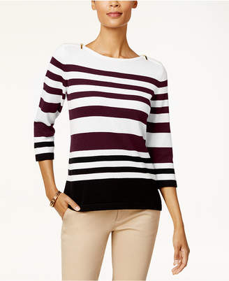 Karen Scott Cotton Colorblocked Zip-Shoulder Sweater, Created for Macy's