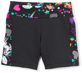Girl Power Sport Active Bike Shorts w/ Unicorn Print Trim, Size XS-XL