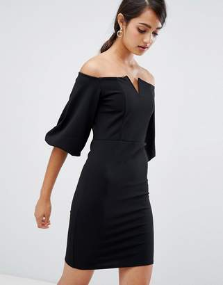 Girls On Film bardot dress with frill sleeve detail