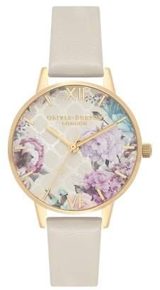 Olivia Burton Glasshouse Leather Strap Watch, 30mm