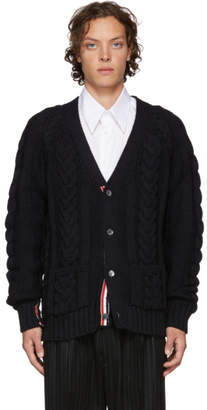 Thom Browne SSENSE Exclusive Navy Stripe Aran Cable Raglan Sleeve V-Neck Cardigan