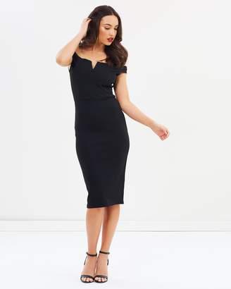 Missguided V Front Bardot Midi Dress