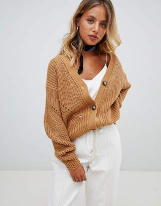 New Look Button Through Chunky Knitted Cardigan