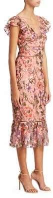 Marchesa Flutter-Sleeve Embroidered Cocktail Dress