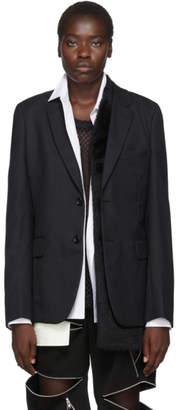Comme des Garcons Black Wool Faux-Fur Panel Blazer