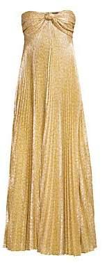 Alexis Women's Joya Strapless Sweetheart Lamé Pleated A-Line Dress