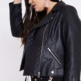River Island Womens Plus black faux leather biker jacket