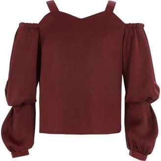 River Island Girls dark red cold shoulder puff sleeve top