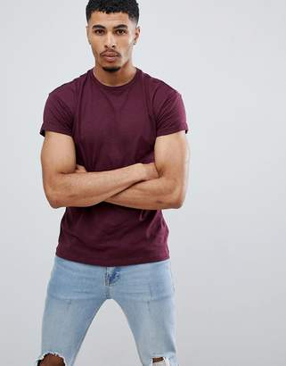 New Look high roll t-shirt in burgundy