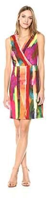 Chetta B Women's Sleeveless Surplice Neck Printed Crepe Sheath Dress