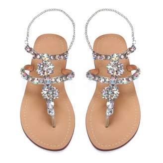 ff5630101e1 AZMODO Women s PU Rhinestones Chains Flat Gladiator Sandals Wedding Shoes  1626 (US 5.5 EU