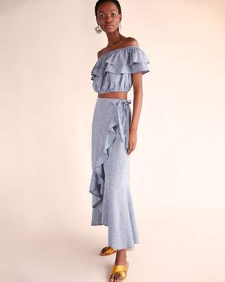 Express Petite Chambray Ruffle Wrap Maxi Skirt