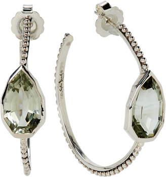 Stephen Dweck Sterling Silver & Green Amethyst Cathedral Hoop Earrings