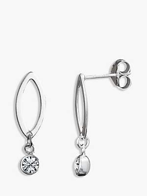 At John Lewis And Partners Nina B Sterling Silver Crystal Drop Earrings