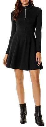 Karen Millen Half-Zip Fit-and-Flare Dress