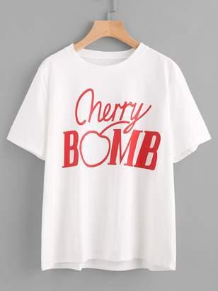 Shein Cherry Bomb Print Tee