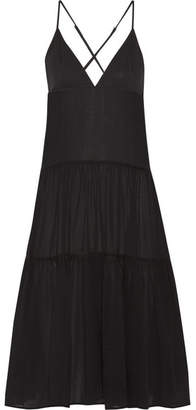 Mara Hoffman - Tiered Organic Cotton-gauze Midi Dress - Black $195 thestylecure.com