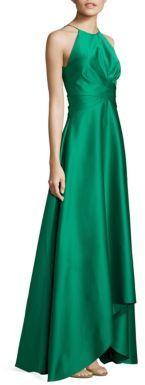Badgley Mischka Satin Halter Twist Gown $595 thestylecure.com