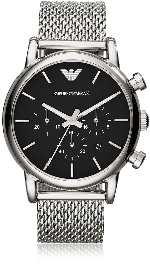 mens watches mesh band shopstyle emporio armani stainless steel black dial men s watch w mesh band