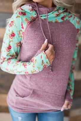 Ampersand Avenue DoubleHoodTM Sweatshirt - Berry Floral