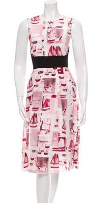 Prabal Gurung Silk Boat Print Dress w/ Tags
