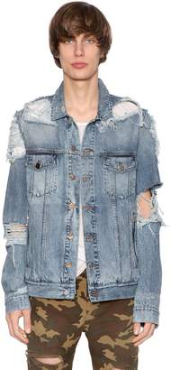 Balmain Destroyed Cotton Denim Jacket