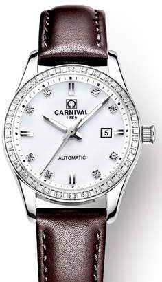Carnival Women's Automatic Mechnicial Analog Luxury Mother of Pearl Dial Rhinestons Index Calendar Date Stainless Steel Dress Wrist Watches with Leather Band