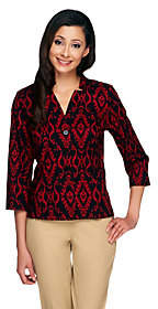 Linea by Louis Dell'Olio Ikat Printed ShirtJacket