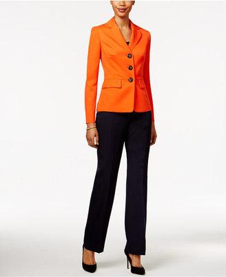 Le Suit Colorblocked Three-Button Pantsuit $200 thestylecure.com