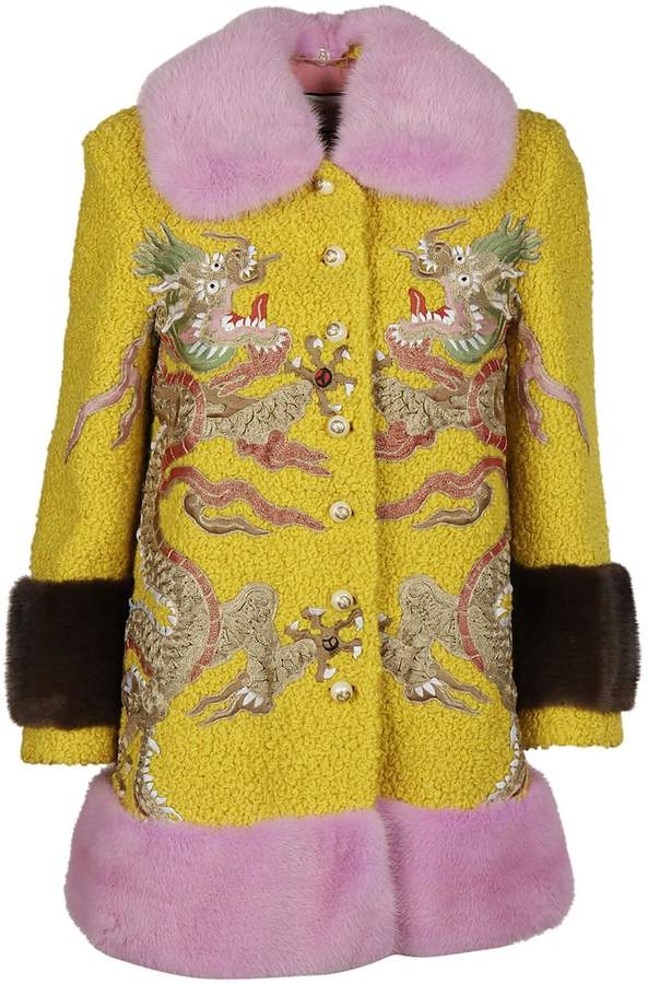 Gucci Embroidered Fur Coat
