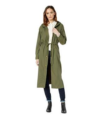 Vince Camuto Long Cinch Waist Snap Front Hooded Coat