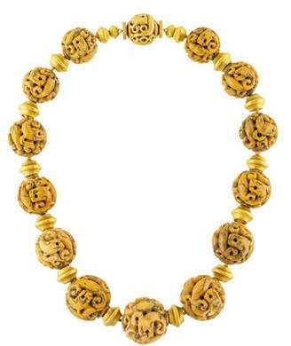 Verdura 18K Dendritic Opal Beaded Necklace