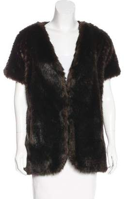 Adrienne Landau Faux Fur Short Sleeve Jacket